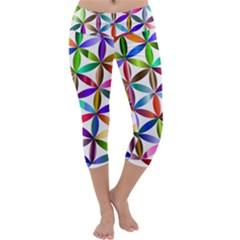 Flower Of Life Sacred Geometry Capri Yoga Leggings