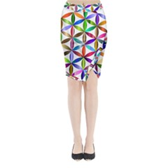 Flower Of Life Sacred Geometry Midi Wrap Pencil Skirt