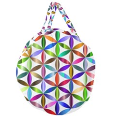Flower Of Life Sacred Geometry Giant Round Zipper Tote