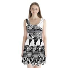 Floral Flourish Decorative Split Back Mini Dress