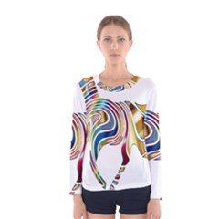 Horse Equine Psychedelic Abstract Women s Long Sleeve Tee