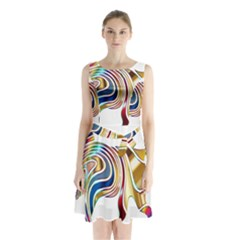 Horse Equine Psychedelic Abstract Sleeveless Waist Tie Chiffon Dress