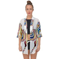Horse Equine Psychedelic Abstract Open Front Chiffon Kimono