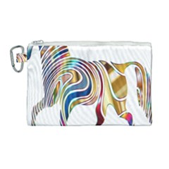 Horse Equine Psychedelic Abstract Canvas Cosmetic Bag (large) by Simbadda