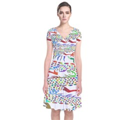 Dragon Asian Mythical Colorful Short Sleeve Front Wrap Dress