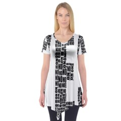 Yes No Typography Type Text Words Short Sleeve Tunic