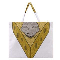 Cheese Rat Mouse Mice Food Cheesy Zipper Large Tote Bag by Simbadda