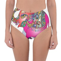 Elephant Pachyderm Animal Reversible High Waist Bikini Bottoms