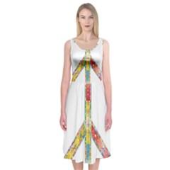 Flourish Decorative Peace Sign Midi Sleeveless Dress
