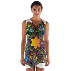 Mandala Floral Flower Abstract Wrap Front Bodycon Dress