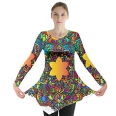 Mandala Floral Flower Abstract Long Sleeve Tunic