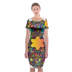 Mandala Floral Flower Abstract Classic Short Sleeve Midi Dress
