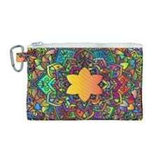 Mandala Floral Flower Abstract Canvas Cosmetic Bag (medium) by Simbadda