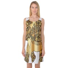 Gold Elephant Pachyderm Sleeveless Satin Nightdress