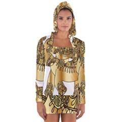 Gold Elephant Pachyderm Long Sleeve Hooded T Shirt