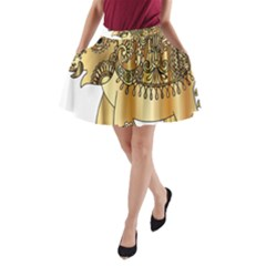 Gold Elephant Pachyderm A Line Pocket Skirt