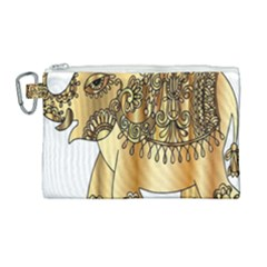 Gold Elephant Pachyderm Canvas Cosmetic Bag (large)