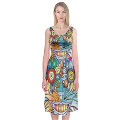 Anthropomorphic Flower Floral Plant Midi Sleeveless Dress