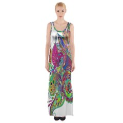 Floral Flowers Ornamental Maxi Thigh Split Dress