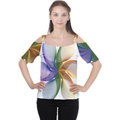 Abstract Geometric Line Art Cutout Shoulder Tee