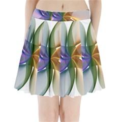 Abstract Geometric Line Art Pleated Mini Skirt