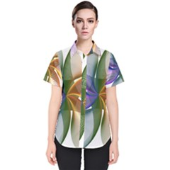 Abstract Geometric Line Art Women s Short Sleeve Shirt