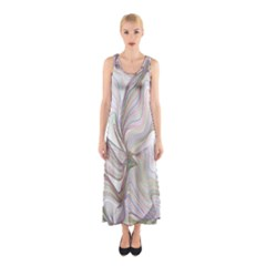 Abstract Geometric Line Art Sleeveless Maxi Dress