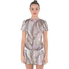 Abstract Geometric Line Art Drop Hem Mini Chiffon Dress