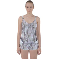Abstract Geometric Line Art Tie Front Two Piece Tankini