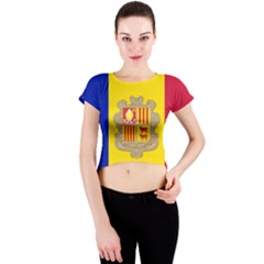 National Flag Of Andorra  Crew Neck Crop Top