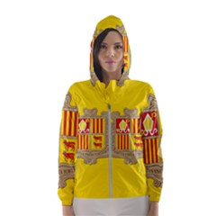 National Flag Of Andorra  Hooded Wind Breaker (women)