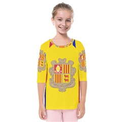 National Flag Of Andorra  Kids  Quarter Sleeve Raglan Tee