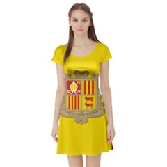 National Flag Of Andorra  Short Sleeve Skater Dress