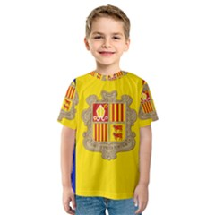 National Flag Of Andorra  Kids  Sport Mesh Tee