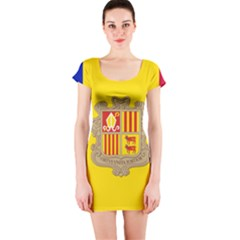 National Flag Of Andorra  Short Sleeve Bodycon Dress