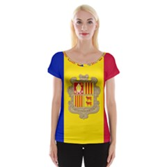 National Flag Of Andorra  Cap Sleeve Tops