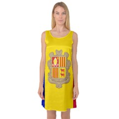 National Flag Of Andorra  Sleeveless Satin Nightdress
