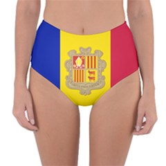 National Flag Of Andorra  Reversible High Waist Bikini Bottoms