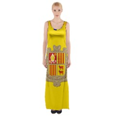 National Flag Of Andorra  Maxi Thigh Split Dress