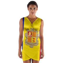 National Flag Of Andorra  Wrap Front Bodycon Dress