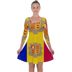 National Flag Of Andorra  Quarter Sleeve Skater Dress