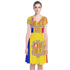 National Flag Of Andorra  Short Sleeve Front Wrap Dress