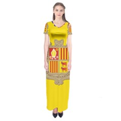 National Flag Of Andorra  Short Sleeve Maxi Dress