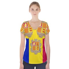 National Flag Of Andorra  Short Sleeve Front Detail Top