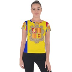 National Flag Of Andorra  Short Sleeve Sports Top