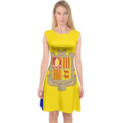 National Flag Of Andorra  Capsleeve Midi Dress