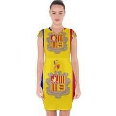National Flag Of Andorra  Capsleeve Drawstring Dress