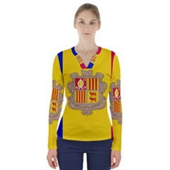 National Flag Of Andorra  V Neck Long Sleeve Top