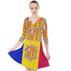 National Flag Of Andorra  Quarter Sleeve Front Wrap Dress