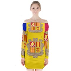National Flag Of Andorra  Long Sleeve Off Shoulder Dress